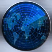 pic of sonar  - great image of a world map on a sonar or radar screen - JPG
