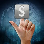 In Press Dollar Sign Icon On Global Background