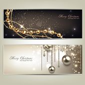 stock photo of shimmer  - Elegant christmas banners with golden baubles and stars - JPG