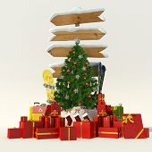 3D rendering of a Christmas tree, a snow covered directional sign with skis and snowboard an lots of presents