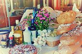 catering buffet food indoor in luxury restaurant with pasta spaghetti bread  colorful fruits and veg poster