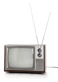 image of tv sets  - Front view of old television set with rabbit ears antennae on white background - JPG