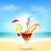 Cocktail on beautiful sunny beach