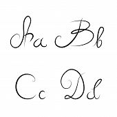 Hand Drawn Calligraphic Letters A,b,c,d Isolated