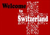 Welcome to switzerland with Swiss icons make
