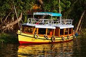 Colorful boat on Kerala backwaters. Kerala, India