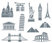 stock photo of world-famous  - A set of world landmark icons on a white background - JPG