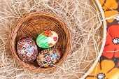 Easter painted eggs in wooden basket