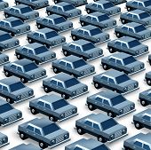 image of generic  - Car dealership concept as a group of generic three dimensional cars organized as a pattern in a parking lot as a symbol of auto sales imports and exports or manufacturing recalls - JPG