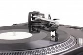 Turntable With Dj Needle On Spinning Record
