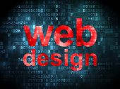 SEO web development concept: Web Design on digital background