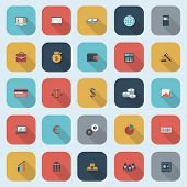 Trendy simple finance icons set in flat design with long shadows for web, mobile applications, social networks etc. Raster copy of vector illustration