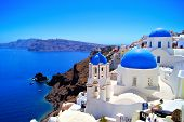 stock photo of greek-island  - Classic Santorini scene with famous blue dome churches - JPG