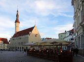 The Heart Of Tallinn In Old Town With City Hall On Ewening