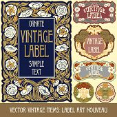 stock photo of art nouveau  - Vector vintage items - JPG