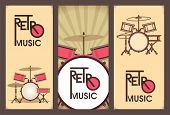 pic of drum-kit  - set of 3 banners in retro style with drums - JPG