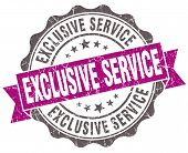 Exclusive Service Violet Grunge Retro Style Isolated Seal