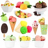 Collage of different sorts ice-cream isolated on white