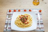 stock photo of carbonara  - Pasta Carbonara with bacon and ground parmesan - JPG