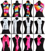 stock photo of outerwear  - Collage of 12 ways to tie scarves - JPG