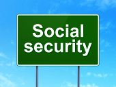 Safety concept: Social Security on road sign background
