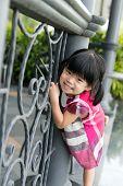Toddler Girl At Fence