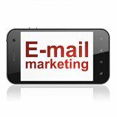 Marketing concept: E-mail Marketing on smartphone
