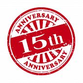 15Th Anniversary Grunge Rubber Stamp