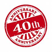 40Th Anniversary Grunge Rubber Stamp
