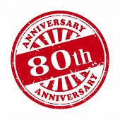 80Th Anniversary Grunge Rubber Stamp