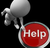 Help Button Means Aid Assistance Or Service