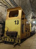 Old salt mine yellow train with bogies