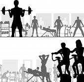 stock photo of gym workout  - Two editable vector silhouettes of people exercising in the gym - JPG