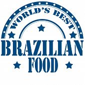pic of brazilian food  - Blue label with text Brazilian Food - JPG