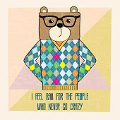 Cool Bear Hipster, Hand Draw Illustration