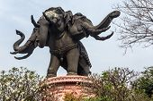 Huge elephant statue building of the Erawan museum, Bangkok, Thailand