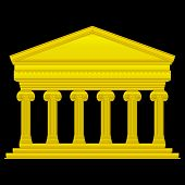 foto of ionic  - Gold ionic temple isolated on black background - JPG