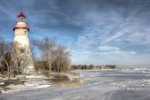 pic of marblehead  - The historic Marblehead Lighthouse in Northwest Ohio sits along the rocky shores of Lake Erie - JPG