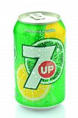 Can of 7 Up drink isolated on white