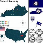 Map Of State Kentucky, Usa
