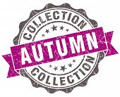 Autumn Collection Violet Grunge Retro Style Isolated Seal