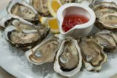 stock photo of oyster shell  - A platter of fresh organic raw oysters on ice at restaurant