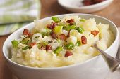 foto of leek  - Mashed potatoes with leeks and crispy bacon - JPG