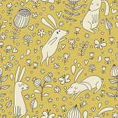 Gentle vintage seamless pattern with cute rabbits, butterflies and flowers in pastel green colors. S