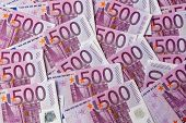 many 500 euro banknotes are adjacent. symbolic photo for wealth