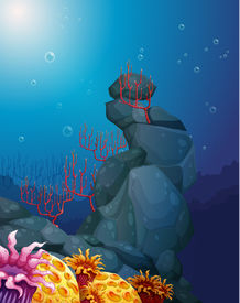 image of underworld  - Illustration of a view of the underworld with rocks and coral reefs - JPG