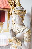 Thai Art Sculpture On Wall In Temple Chiang Rai, Thailand