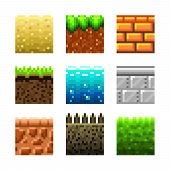 Textures For Platformers Pixel Art Vector Set