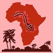 image of hemorrhage  - Ebola virus bacterium against the background of Africa continent as concept of terrible disease that swallowing up africans and people all over the world vector illustration - JPG