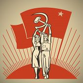 foto of hammer sickle  - Happy man and woman together holding in their hands labour tools hammer and sickle on the background of the rising sun and waving socialism flag vector illustration - JPG